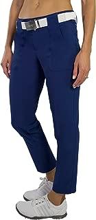 Belted Cropped Golf Pant -Blue Depth