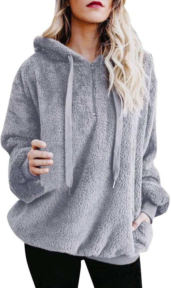 Eoailr online shopping Women Limited price Warm Fluffy Winter Coat Tops S Hooded Ladies Hoodie