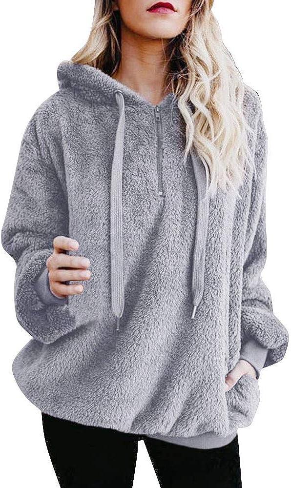 iQKA Women Warm Winter Coat Fluffy Faux Fur Hooded Oversized Jacket Zipper Outerwear