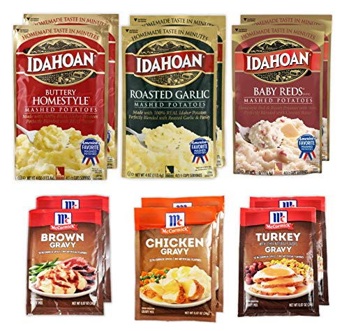 Idahoan Instant Mashed Potatoes Variety (4 Oz x 6 pack) and McCormick Gravy Mix Packets (0.87 oz x 6 pack) Bundle - (Homestyle Garlic BabyRed with Chicken Turkey Brown)