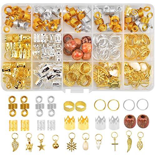 16 Estilos Pelo de Aluminio Anillos, Anillos de Trenza de Pelo, Puños de Pelo de Metal, Cabello Dreadlocks Beads Decoración de Pelo Bisutería de Trenza para Uso Diario en el Escenario de la Fiesta