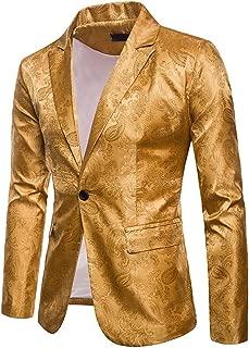 Mens Solid Color Business Dress Suit,One Button Slim Fit Formal Party Jacket Blazer