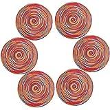 U'Artlines Conjunto de 6 manteles de algodón Resistente al Calor de Forma Redonda de 38 cm(Redonda,Multicolor Rojo)