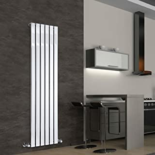 Hudson Reed Radiador de Diseño Moderno Vertical Delta - Radiador con Acabado Cromado - Paneles Planos - 1600 x 450mm - 590W - Calefacción