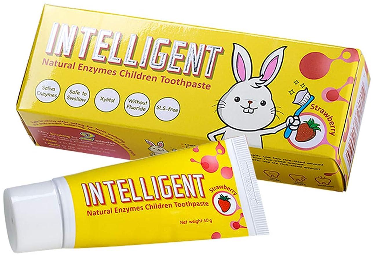 不機嫌そうなエンドテーブル展示会インテリジェント唾液の自浄酵素入り子供用歯磨き粉40g【フッ素無し、泡立ちなし、うがい不要、辛くない】【低刺激 こども用ハミガキ粉、低研磨 子ども用はみがき粉】【イチゴ, 1個】
