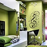 MairGwall Music Notes Musical Treble Clef Wall Vinyl Decal Sticker Art Design Stylish Interior Decor Bedroom (C)