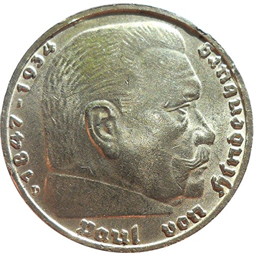 Münze Silbermünze 5 Reichsmark 1938 D Drittes Reich - Paul von Hindenburg