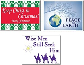 VictoryStore Yard Sign Outdoor Lawn Decorations, Merry Christmas Religious Yard Sign, Set of 3, 3 Different Signs, Yard Stakes Included
