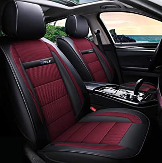 TUNBG Funda de Asiento de Cuero Ice Silk para Volkswagen BMW E46 E60 E90 Audi A3 A4 B8 Ford Focus Fiat Skoda Rapid Accesorios Car Styling, Negro,Rojo
