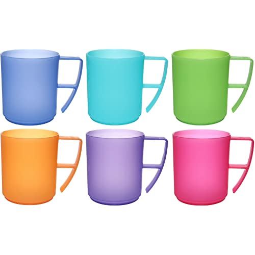 12 x CHILDREN KIDS PLASTIC SMILEY FACE MUGS CUPS WITH HANDLE FUN TRAVEL HOME