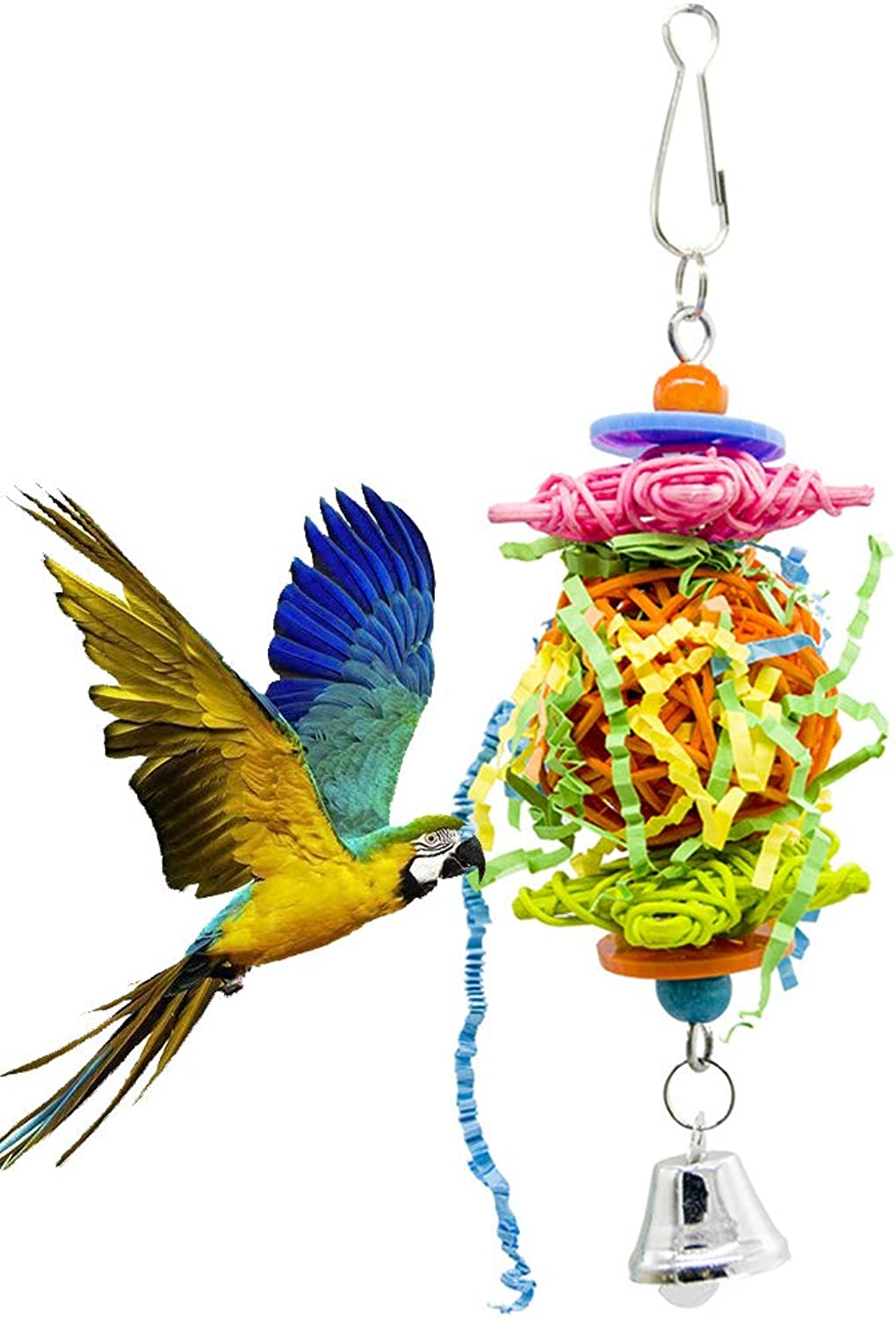 Bird Parred Toy, Rattan Ball Brushed Bite Toy, Bird Cage Decoration Accessories AntiWear Pet Toy