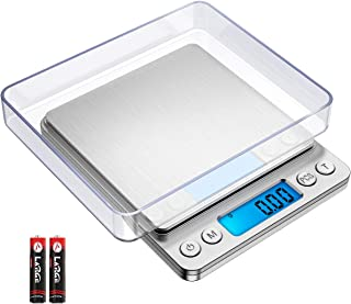KeeKit Digital Pocket Scale, 500g 0.01g Mini Kitchen Scale with 2 Trays, High Accuracy Multifunction Food Scale with 6 Units, Backlit LCD Display, PCS, Tare & Auto No/Off (Batteries Included) – Silver