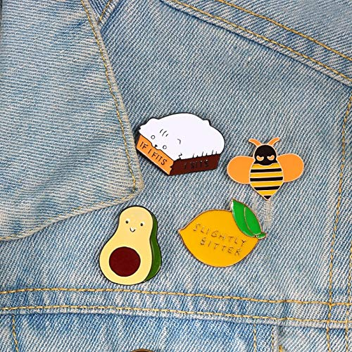 ZSCZQ Cute Cartoon Enamel Brooches Pins Lemon Smile Pear Bee Cat Clothes Icon Pin Hat Bag Badge Gift For Friend Button Denim Lapel Pin Kitty