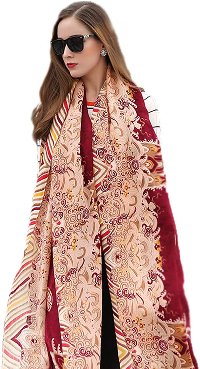Wraps & Pashminas Wool Scarf Ladies Long Scarf Autumn and Winter Scarf Ethnic Wind Shawl Oversized Shawl Travel Shawl Dual Purpose (color   Red, Size   245  110cm)
