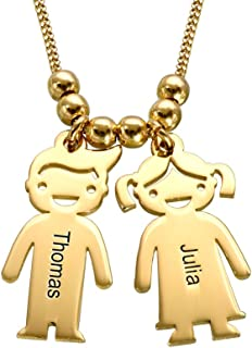 Personalized Children Charms Mothers Necklace - Engraved Boy-Girl Charm - Gold Plated Christmas Gift for Mom Wife- Kids Charms