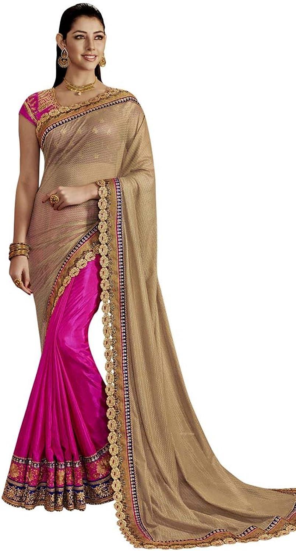 INMONARCH Womens Purple and Beige Art Silk Partywear Saree SRD4059