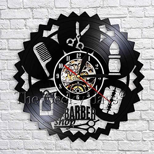 GXYtable cloth Diseño Barber Shop Wall Decoración de Vinilo Récord de Pared Reloj de Belleza Salón de Pelo Estilo Decorativo Reloj