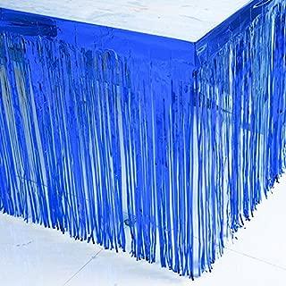 BluKey 29x108-Inch Metallic Fringe Table Skirt Banner Royal Blue