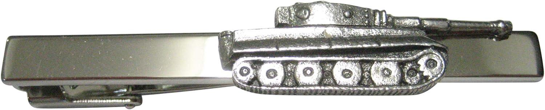 Kiola Designs Silver Toned Textured Panzer Tank War Outlet sale feature Tie Square C Store
