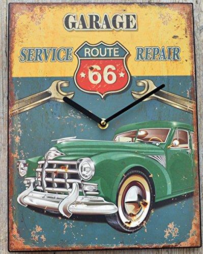 Schmiedegarten Wanduhr Route 66 - Uhr aus Metall im Vintage Shabby Stil - Blechschild Hängeuhr – Garage Service Oldtimer
