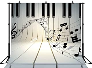 FHZON Musical Note 10x10ft Photography Backdrop Piano Keyboa