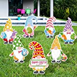 Zonon 7 Pieces Easter Gnomes Yard Signs Gnomes Bunny Eggs Yard Signs with 14 Stakes for Easter Day Large Outdoor Lawn Garden Decorations