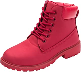 Mens Womens High-Top Lace Up Ankle Boots Combat Booties Outdoor Walking Hiking Trekking Shoes