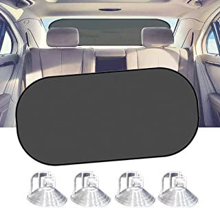"""Car Sun Shade, IC ICLOVER UV Protection Folding Auto Rear Window Sunshade, 39""""x20"""" Universal Mesh Back Window Visor with Suction Cup for Children Kids Baby Pet Fit SUV"""