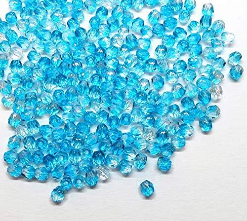 100 Stück Kristall Glas Perlen Preciosa Böhmische Glasschliffperlen 3mm Feuerpoliert Facettiert Rund CZ Tschechische Glasperlen Druckperlen Farbauswahl (2 Farbig Blau Crystal)