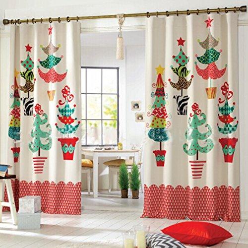 Gwell Cortina de Jardín de Infantes de navidad con Hoyo Bufanda Decoracion para Sala de Estar Dormitorio 1 pieza