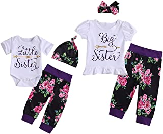 0555c497fe7f Camidy Girls Matching Outfits Little and Big Sister T-Shirt Romper Floral Pants  Set