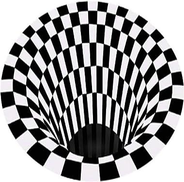 Vortex Illusion Rug, Round Square Anti-Slip Floor Mat Black White Grid 3D Illusion Carpet for Bedroom Living Room Hallway Hom