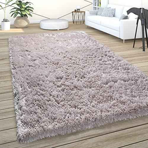 Paco Home Hochflor Teppich Wohnzimmer Shaggy Pastell Einfarbig Weich Flauschig Rosa Grau, Grösse:140x200 cm