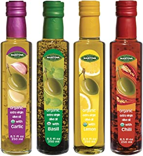 Mantova Flavored Extra Virgin Olive Oil Variety Pack: Garlic, Basil, Chili, Lemon Organic Extra Virgin Olive Oil, 8.5-Ounce Per Bottle (Pack of 4) Great Gift Item