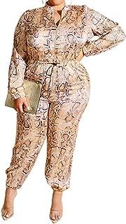 Uni Clau Women Plus Size Snakeskin Jumpsuit - Sexy One Piece Outfits Drawstring Zipper Long Sleeve Loose Clubwear Rompers