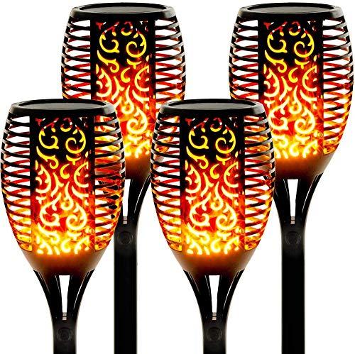 Solarlampen für außen 4 Stück Flammenlicht Gartenfackeln IP65 Wasserdicht Solar Flamme Fackeln Lichter Solarleuchten mit Realistischen Flammen Automatische EIN/Aus [Energieklasse A++] (Solarleuchten)