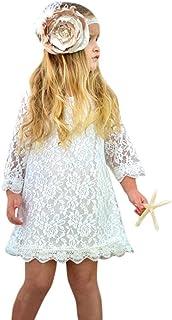 577c116d6210b OHQ Robe de Princesse en Dentelle à Manches Longues Pour Enfants Blanc  enfant Bas Âge Bébé