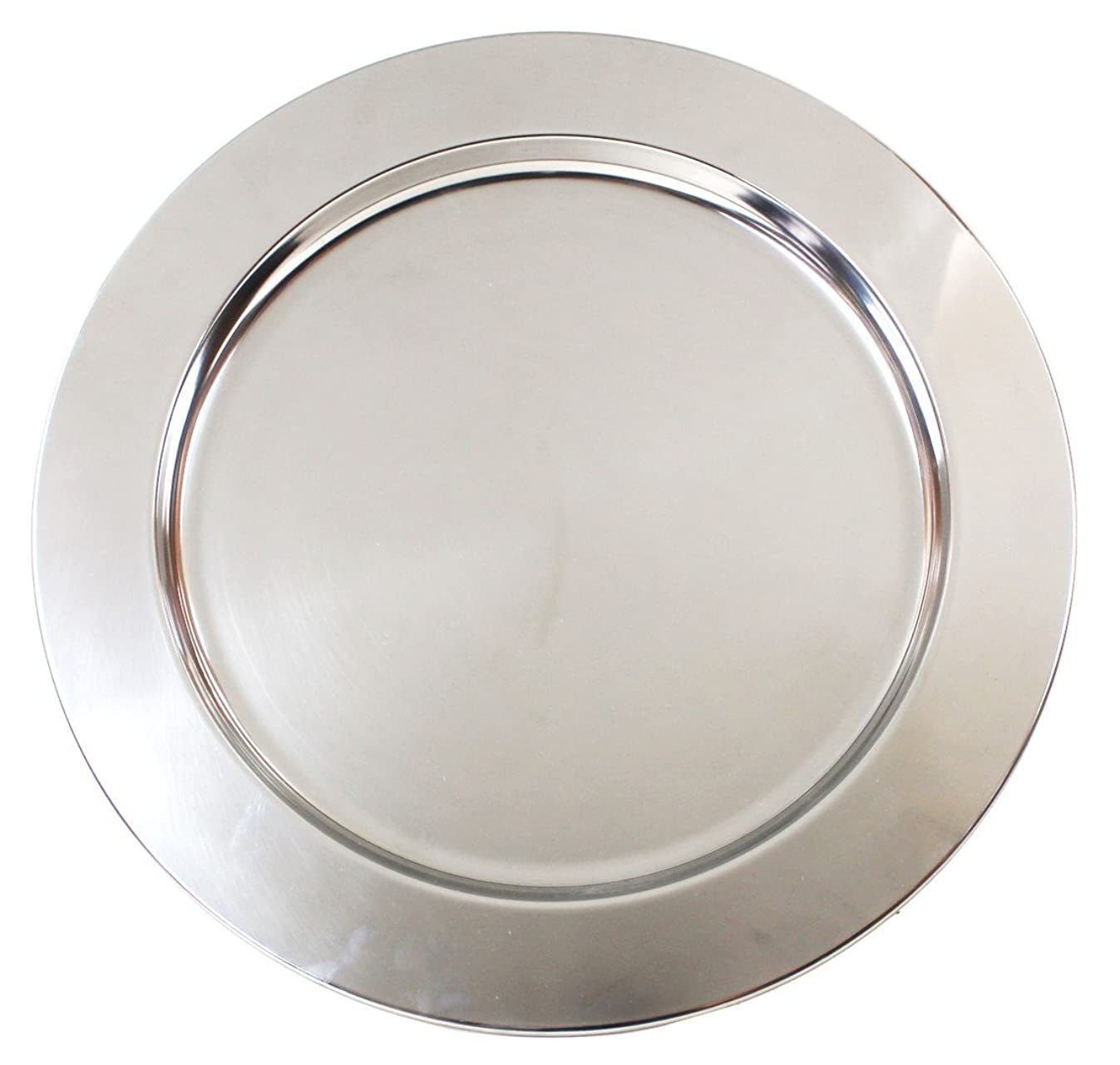 Silver Stainless Steel Metal Charger Plates - Set of 4-13 inch