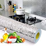 Waterproof Oil-proof Self Adhesive Aluminum Foil Wall Sticker,silver kitchen wallpaper 5m*61cm