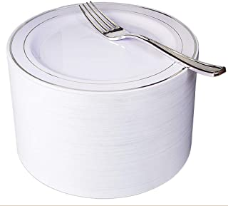 "NERVURE 102 Heavyweight Plastic Disposable 7.5"" Small Plates & 102 Silver Plastic Forks, Perfect for Salads, Desserts, Parties, Catering, Wedding Cakes (silver)"