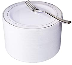"""NERVURE 102 Heavyweight Plastic Disposable 7.5"""" Small Plates & 102 Silver Plastic Forks, Perfect for Salads, Desserts, Parties, Catering, Wedding Cakes (silver)"""