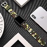MTUP Reloj universal hecho a mano colorido silicona suave correa deportiva 44mm pulsera pulsera 38mm 42mm (color de la correa: azul camuflaje, ancho de la correa: 38mm Serie 3 2 1)