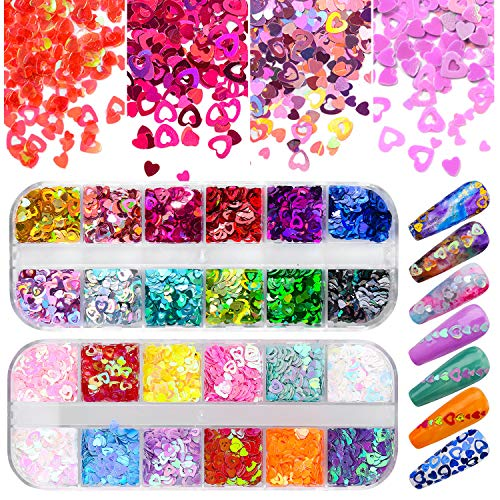 Warmfits Nail Art Heart Glitter 24 Colors Holographic Sparky Mixed Heart & Hollow Heart Shaped Nail Sequins 4mm 3mm 2mm Various Size for Acrylic Nail Decoration Eye Face Body DIY Crafts (Pattern A)