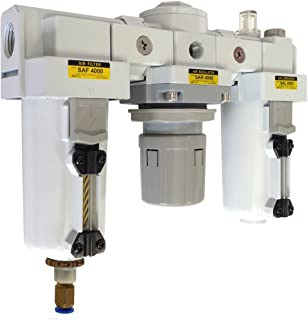 PneumaticPlus SAU4000M-N04DG-MEP Three-Unit Combo Compressed Air Filter/Regulator/Lubricator FRL Air Preparation Unit 1/2