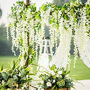 Fake Ivy Artificial Ivy Leaves Greenery Garlands Hanging Artificial Fake Wisteria Vine Ratta Hanging Garland Silk Flowers String for Wedding Party Garden Wall Decoration (White)