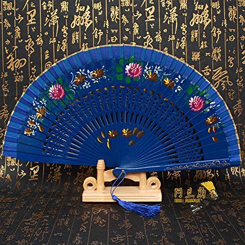 Vouwventilator, Chinese kleine bloemenprint met de hand gesneden schat blauw bamboe ventilator holle vouwen ventilator kantoor woonkamer decoratie bureaublad decoratie bruiloft partij dames geschenk