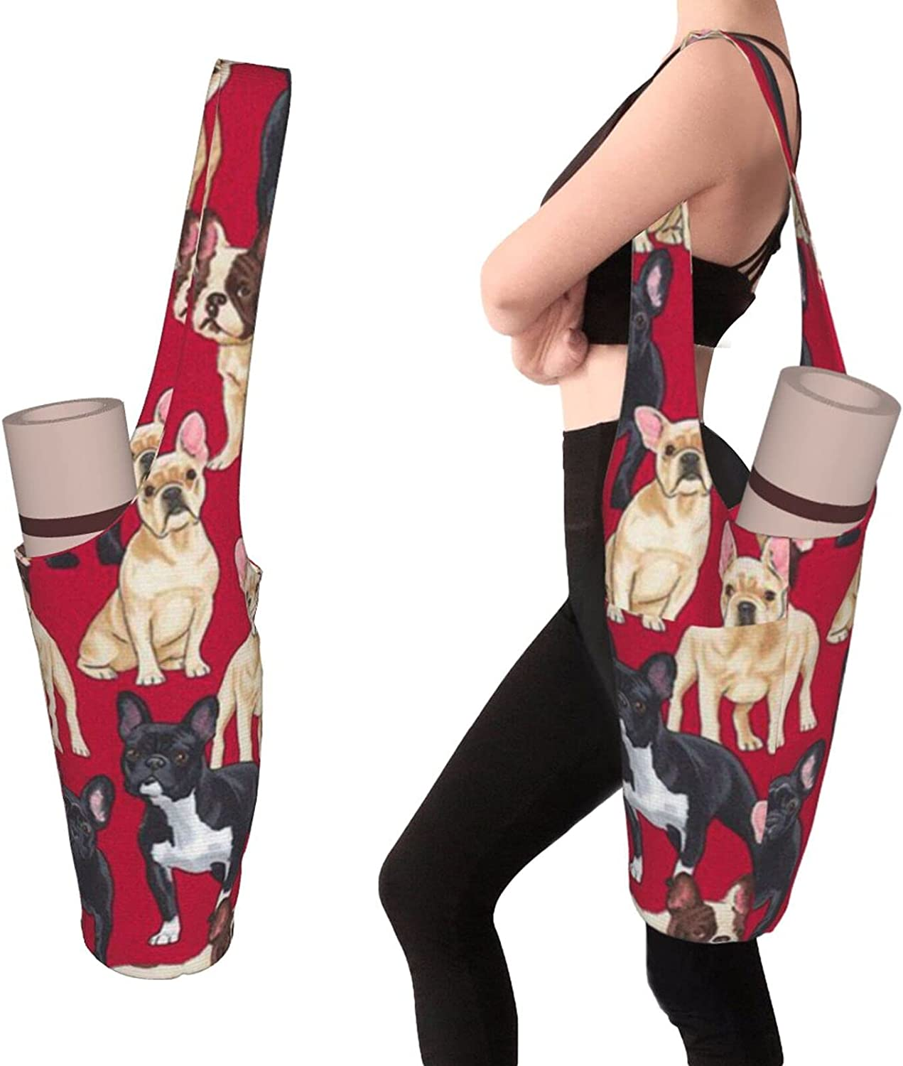 Dog Lovely Red Yoga Mat Bag - Large Max 60% OFF Zippe Pocket and sale with Size
