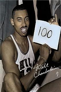 Wilt Chamberlain Autograph Replica Super Print - Holding Sign - 100 Point Game - Portrait - Unframed