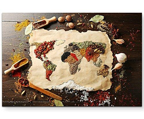 Paul Sinus Art Leinwandbilder   Bilder Leinwand 120x80cm Weltkarte aus verschiedenen Gewürzen