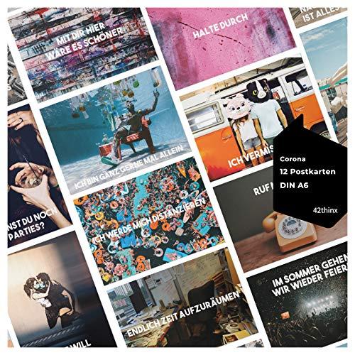 42thinx - Juego de 12 tarjetas postales modernas para Corona, tarjetas de visión, cartón cromado, 300 g, papel A6, frases postales divertidas, filosóficas motivadoras y mucho más, postales